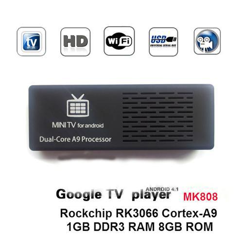 Dual Core MK808 Mini PC Smart Android 4.1 TV BOX HDMI RK3066 Bluetooth Cortex-A9 OTG free shipping(China (Mainland))