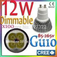FedEX Free shipping 100 pcs Cree Dimmable 12W 9W GU10 E27 B22 E14 MR16 GU5.3 LED Spotlight downlight lamp bulb droplight light