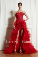 Sexy attractive red strapless short front long back ruffles Zuhair murad prom dresses 2013