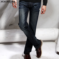 Free shipping 2014 spring male jeans thick slim straight denim hole trousers