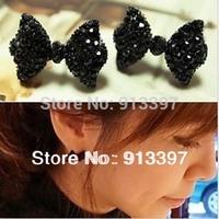 24 Pairs Free Shipping Cute Black Rhinestone Crystal Bowknot Bow Tie Stud Earring Earrings Sweety For Girl Ladies NEW