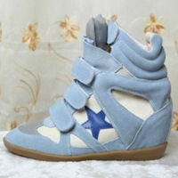 Isabel Marant Bekket High-top 7cm,Original Color Light Blue-blue pentagram Suede Leather,EU35~41,Drop Shipping/Free Shipping