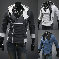 Fashion Mens Slim Fit Irregular Zip Up Hoodies Jackets Coats Multicolor(China (Mainland))
