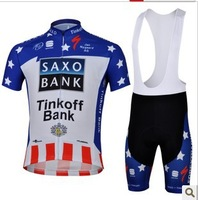 Free Shipping!! 2013 new saxo bank   team cycling jersey + bib shorts