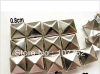 Free shiping,500pcs/lot, 8mm Metal Brass Claws Pyramid Stud Spot Punk Rock Nailheads Shoes Spikes Leather Craft FSMD-0003