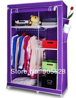 2013 non woven Wardrobe Wardrobe closet/Storage cabinet/Steel pipe and Nov-woven fabric wardrobe 107*46*170cm pure purple colour
