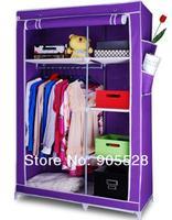 2013 non woven Wardrobe Wardrobe closet/Storage cabinet/Steel pipe and Nov-woven fabric wardrobe 107*46*170cm pure purple colour