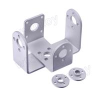 Robot RC servo spare parts of 2 Metal U holders + 2 Round servo mount Brackets