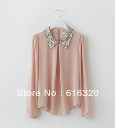 2013 New Casual Fashion Women Top Button Shirt Chiffon Blouse Office OL Shirts Sheer Tops 3 colors S,M,Lfree shipping(China (Mainland))