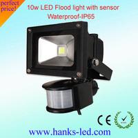 10W led flood light sensor IP65 AC85-265v black shell warm/cool white,2year warranty free shipping