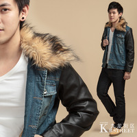 Free shipping!!!Men's casual denim jacket fashion warm fur collar plus velvet denim jacket stitching leather sleeves jacket male