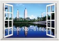 Scenery  fake window sticker 70*46cm sofa background bedroom   Removable wall sticker  fj-7