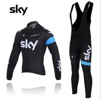 2012  MONTON  sky   Best Selling Winter Fleece/Thermal Cycling White Jerseys+Bib Pant