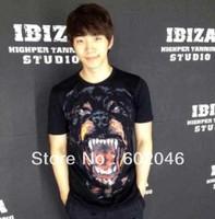 Free shipping 2013 new GIV male money short sleeve T-shirt  Rottweiler head 100%cotton T-shirt