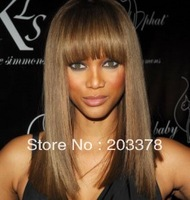 New Arrivals  Long straight Golden and Brown Mix synthetic wig free shipping