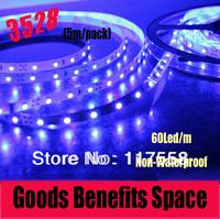 Free Shipping +Led Strip 5M/pack SMD3528 Light 60 led/m Single Color Livingroom Bedroom Square led Non-Waterproof Strip Light