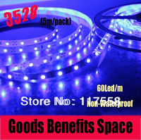 Free Shipping +5M 3528 Led Strip Light 60 led/m Single Color Livingroom Bedroom Square Non-Waterproof Strip Light