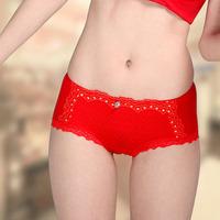 Soft red lace lovers bamboo fibre women's trigonometric panties