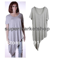Wholesale Loose Dress Tank Top Sexy Long Tee T-Shirt Vest Tops Shirt Irregular Hem Free Shipping with Tracking Number