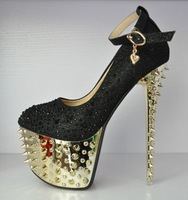 Free Shipping!  Party Queen Women Black Gold Platform Sandal with 16CM Heels,  Rivet/ Rhinestone Decoration