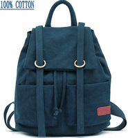 vintage preppy fashion brand vintage 100% cotton canvas lady rucksack backpack for women, wholesale 5249