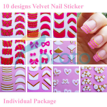 10 sheets 3D Velvet White Hot Pink nail sticker Decal designs Nail Stickers Fashion Nail Art Dropshipping [Retail] SKU:B0071X