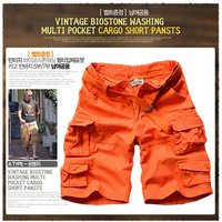 7 ! 100% cotton water wash multi-pocket overalls shorts male knee-length pants yj519f58