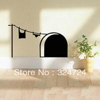 Free shipping Cartoon Mouse Hole wall stickers personalized Home child roomdecoration 5pcs/set wholesale black/orange/dark grey