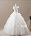Real Straps V-neck Wholesale Tulle Wedding Gown Bridal Dress Free Shipping T2105