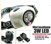 1PCs 159-2B LED Headlight 3 W + 1 LED Headlamp White Fishing Waterproof Headlight 3 Mode Outdoor Hiking Mini Headlamp