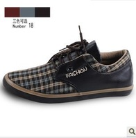 2013 New Spring autumn mens plaid designer shoes Men low low  round toe lacing casual popular men's fashion flat canvas shoes