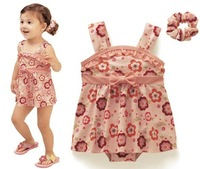 Free Shipping 5sets/lot Spaghetti flowers dress suits,comes with hairbands and bread pants