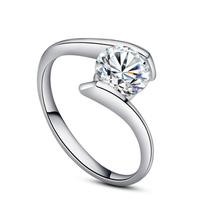 1Carat Ladies  s925 silver rings Wedding ring 18k white gold FRlEESHIPPING