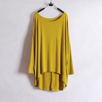 Wliang fashion female long-sleeve T-shirt female t-shirt medium-long batwing sleeve brief loose solid color