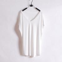 Wliang fashion short-sleeve T-shirt basic deep v neck solid color loose short-sleeve tee shirt