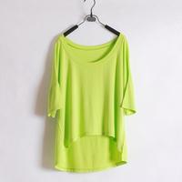 Wliang fashion female short-sleeve T-shirt small shirt solid color short design loose irregular