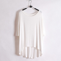 Wliang fashion short-sleeve T-shirt female solid color loose medium-long batwing sleeve