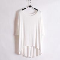 Wliang fashion short-sleeve T-shirt female solid color loose medium-long batwing sleeve