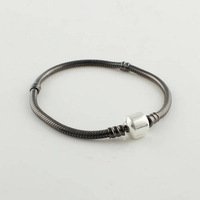 925 Sterling Silver Oxidised Starter Charm Bracelet For Charms and Beads