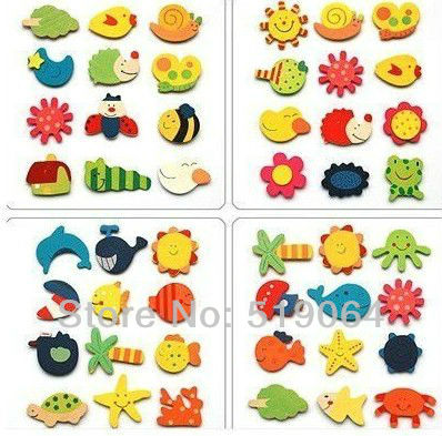 Free shipping, Cute Wooden animal fridge magnet, Wooden fridge magnet,Wholesale price 360Pcs/lot(China (Mainland))
