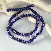 "15""L Dark Blue Crystal Quartz Abacus Faceted Loose Bead 4*6MM"