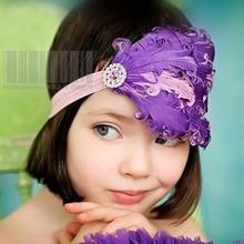 wholesale purple feather headband