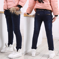 Winter female child knitted jeans pencil pants slim straight pants plus velvet thickening trousers 1361