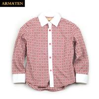 Armaten children's clothing child plaid shirt male child plaid shirt 100% cotton