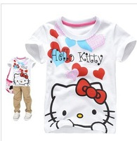 Wholesale Free shipping 6pcs/lot hello kitty girl T shirt in summer, short sleeve kid's clothes