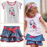Free shipping228 denim skirt two sets of law single girls short-sleeved T-shirt + denim skirt