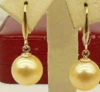 South Seas 10mm gold sallei pearl earrings simple paragraph gift