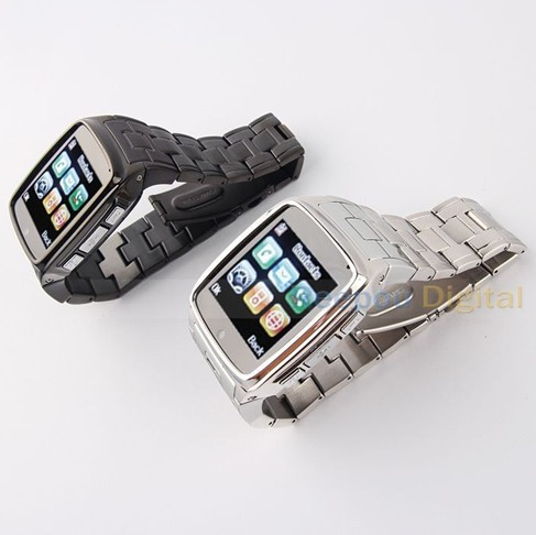 Black Silver All steel Camera Watch phone 1.6 inch touch screen Bluetooth MP3 GSM Quad Band sport watch mobile phone(China (Mainland))