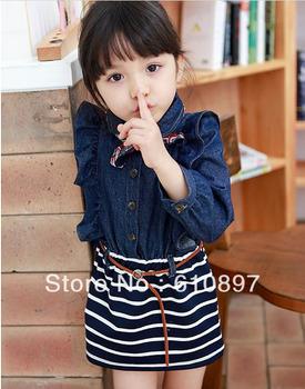 2013 Wholesale 2-pcs cotton autumn baby clothes suit kids clothing set ( Denim jackets+ dress),5 set/lot,Free Shipping