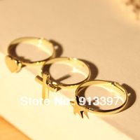 12 PCS Stylish Retro Gold Plated Love Heart the Cross Star 3pcs a Set Adjustable Ring 3 in 1 Rings